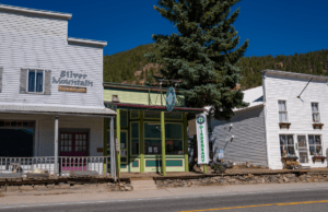 Small downtown building with a marijuana dispensary sign and flag.