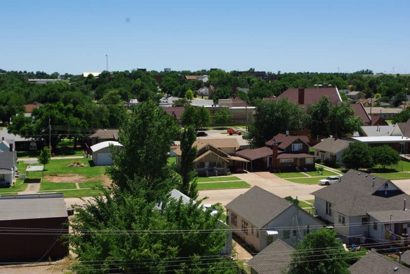 Elevated view of homes in the core of a small town