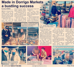 "Newspaper story headline says, ""Made in Dorrigo Markets a bustling success"""